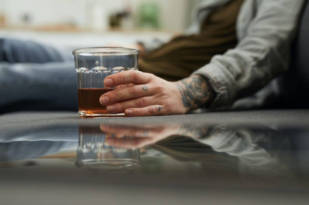 Woman relaxing with alcohol